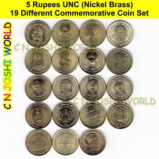 19 Different Nickel Brass 5 Rupees Commemorative