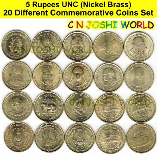 20 Different Nickel Brass 5 Rupees Commemorative