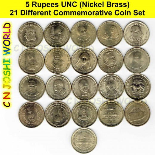 21 Different Nickel Brass 5 Rupees Commemorative