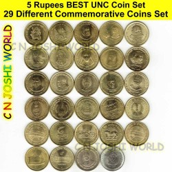 34 Different Very Rare 5 Rupees+10 Rupees Commemorative 5+10 Rupees UNC Coin Set