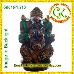 140-Gram Real Jade Panna Ganesh Statue