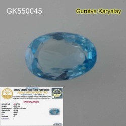 RATTI-5.95(5.37CT) LAB TESTED NATURAL BLUE ZIRCON BLUE ZIRCAN VENUS GEMS ZIRCON