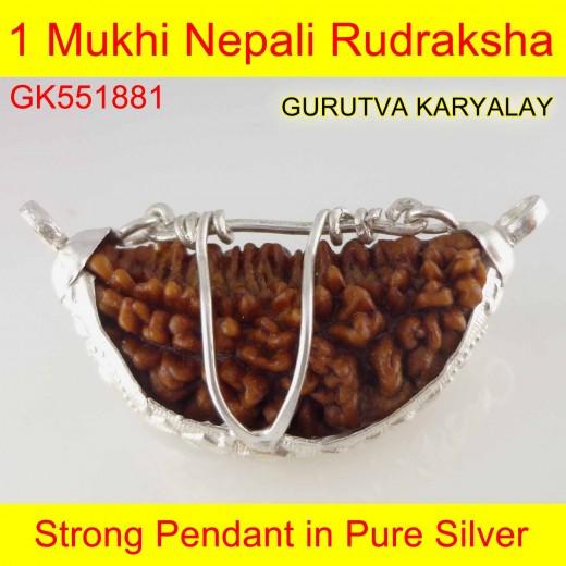 32.50 mm 1 Mukhi Rudraksha In Silver Pendant